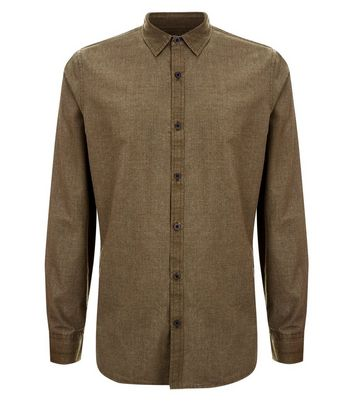 Lost Society Khaki Dip Dye Shirt New Look