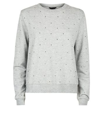 Grey Marl Gem Studded Sweatshirt New Look