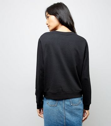 Black Lace Applique Sweatshirt New Look