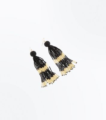 Black and Gold Tassel Bead Earrings New Look
