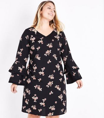 Curves Black Floral Double Frill Sleeve Dress New Look
