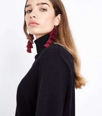 Red Layered Tassel Shoulder Duster Earrings New Look