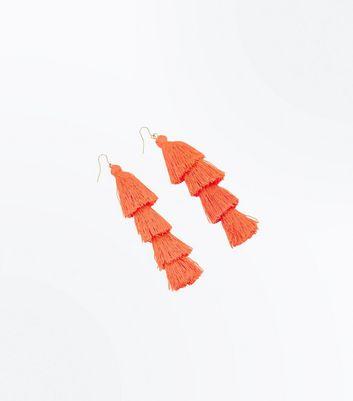 Bright Pink Tiered Tassel Earrings New Look