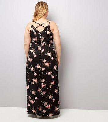 Curves Black Rose Floral Print Maxi Dress New Look