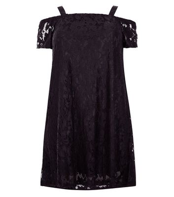 Curves Black Lace Bardot Neck Dress New Look