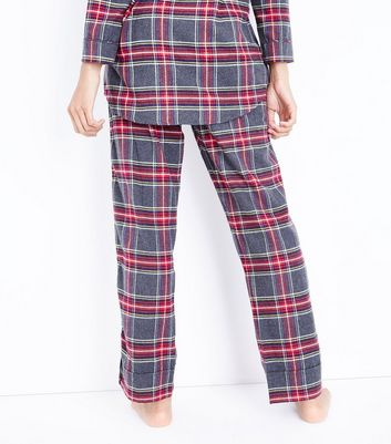 Grey Tartan Flannel Pyjama Bottoms New Look