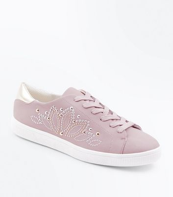 Lilac Stud Embellished Lace Up Trainers New Look