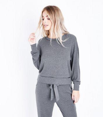 Petite Dark Grey Brushed Jersey Pyjama Sweatshirt New Look