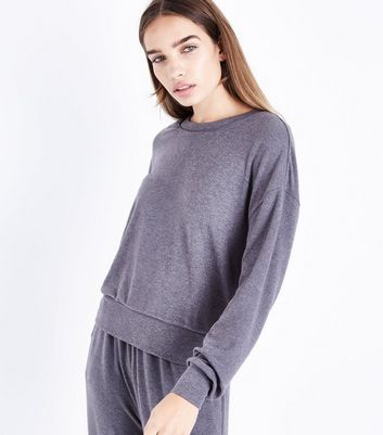 Tall Charcoal Grey Tie Back Brushed Jersey Sweatshirt