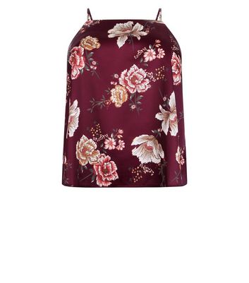 Curves Burgundy Floral Satin Cami Pyjama Top New Look