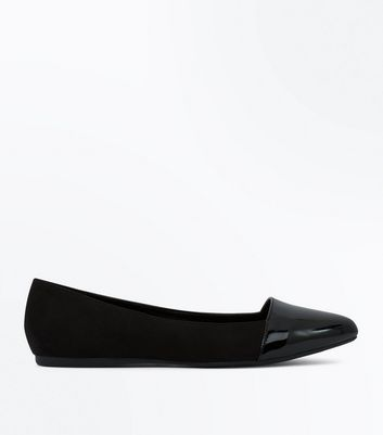 Wide Fit Black Suedette Patent Toe Pumps New Look