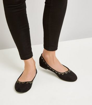 Wide Fit Black Embellished Ballet Pumps New Look