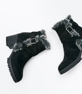 Black Faux Fur Trim Block Heel Boots New Look