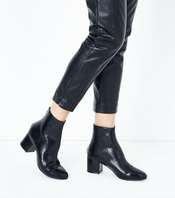 Wide Fit Black Patent Block Heel Ankle Boots New Look
