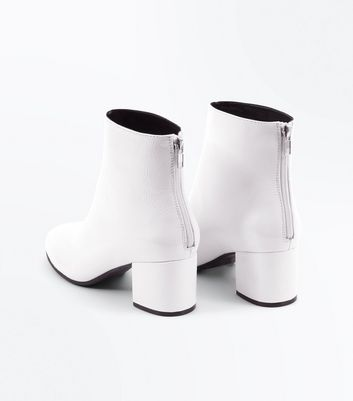 Wide Fit White Patent Block Heel Ankle Boots New Look
