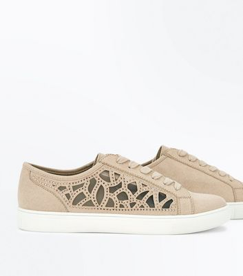 Oatmeal Cut Out Embellished Trainers New Look