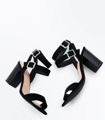 Wide Fit Black Comfort Block Heel Double Strap Sandals New Look