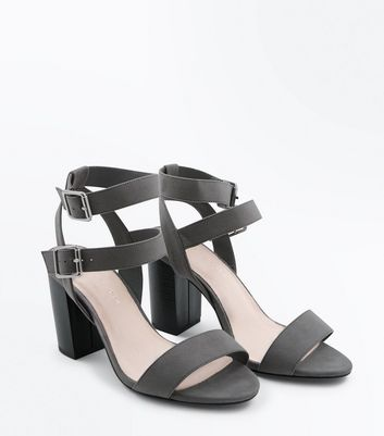 Wide Fit Grey Comfort Block Heel Double Strap Sandals New Look