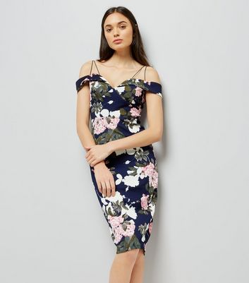 AX Paris Navy Floral Print Strappy Dress