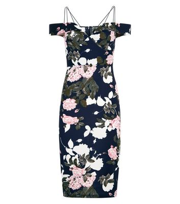 AX Paris Navy Floral Print Strappy Dress New Look