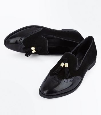 Black Suede Tassel Front Loafers New Look