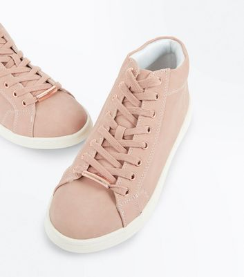 Pink High Top Lace Up Trainers New Look