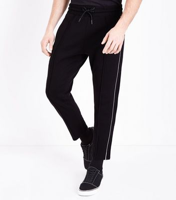 Black Side Stripe Print Joggers
