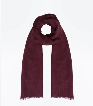 Dark Purple Fray Hem Scarf New Look