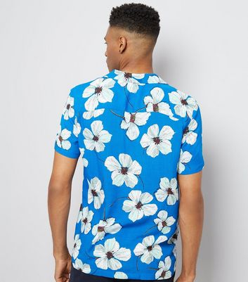 Bright Blue Floral Print Shirt New Look