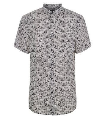 Black Monochome Abstract Print Short Sleeve Shirt New Look