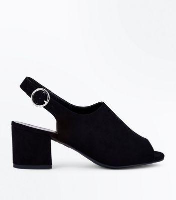 Wide Fit Black Suedette Peep Toe Block Heels New Look