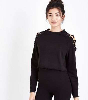 Black Lace Up Sports Sweatshirt New Look