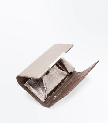 Pewter Foldover Purse Clutch New Look