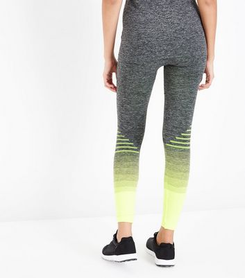 Yellow Ombre Stripe Seamless Sports Leggings New Look