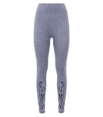 Dark Grey Ladder Hem Seamless Sports Leggings New Look