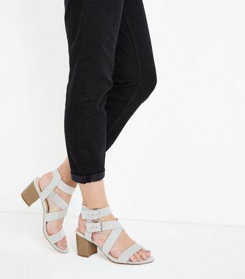 Grey Suedette Buckle Side Strappy Block Heels New Look