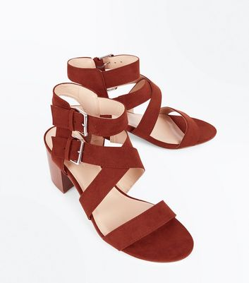 Red Suedette Buckle Side Strappy Block Heels New Look
