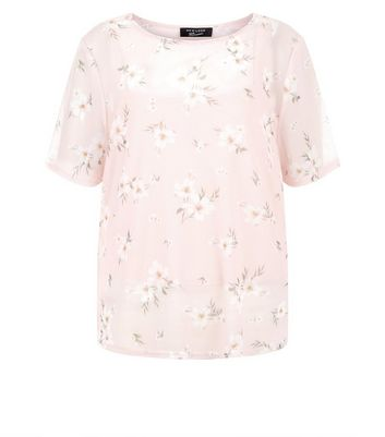 Teens Pink Floral Print Mesh T-Shirt New Look
