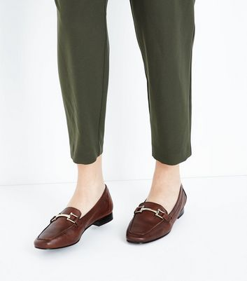 Brown Leather Bar Front Loafers New Look