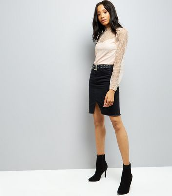 Shell Pink Velvet And Lace Top New Look