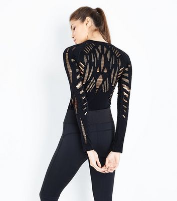 Black Ladder Cut Out Sports Bodysuit New Look