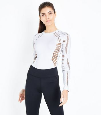 White Ladder Cut Out Sports Body Suit New Look