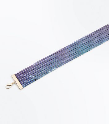 Purple Iridescent Chainmail Choker New Look