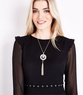 Rose Gold Circle Pendant and Tassel Necklace New Look
