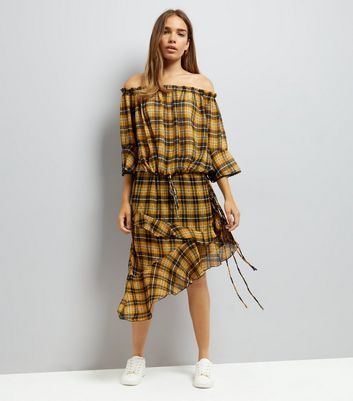 Yellow Chiffon Check Asymmetric Frill Hem Midi Skirt New Look