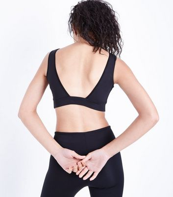 Black Lace Up Sports Crop Top New Look
