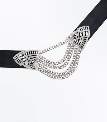 Black Embellished Chain Centre Choker New Look