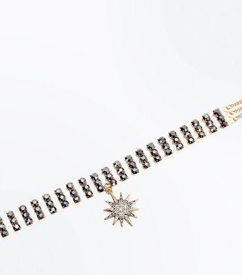 Gold Embellished Star Pendant Choker New Look