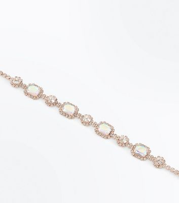 Gold Crystal Gem Choker New Look