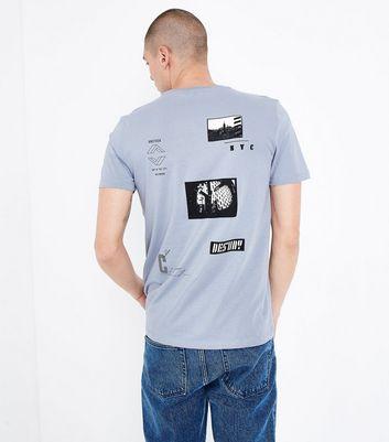 Pale Blue Slogan Badge Print T-Shirt New Look